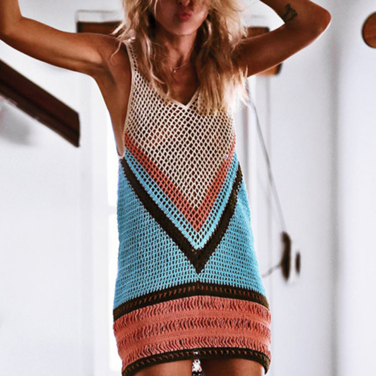 Sexy Women Hollow Out Beach Cover Up Crochet Bikini Cover Ups Tassel Cover ups Bathing Suit Swimwear Dress Swimsuit Bathing Suit in Cover Ups from Sports Entertainment