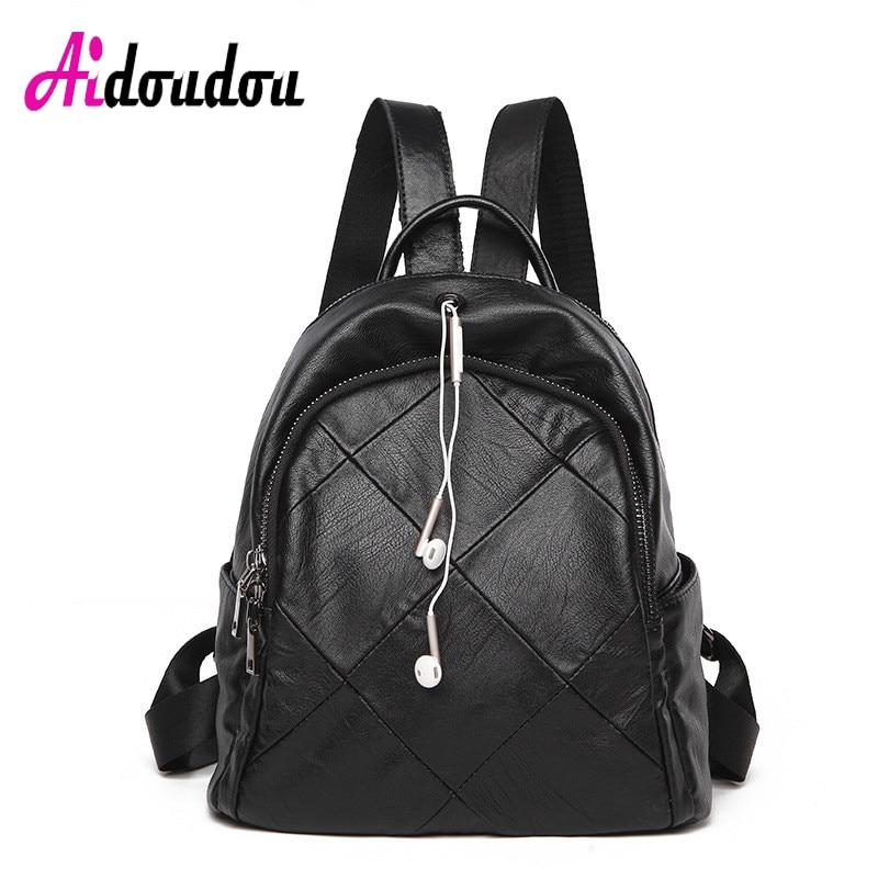 AIDOUDOU BRAND Backpack School College Wind Waterproof Bag Headset Hole Earphone Plaid Black Sheepskin Leather Spilt