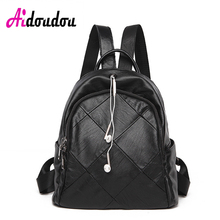 Aidoudou бренд рюкзак школьный в духе колледжа Водонепроницаемый сумка гарнитуры отверстие для наушников плед черный из овечьей кожи пролитой сумка 2017