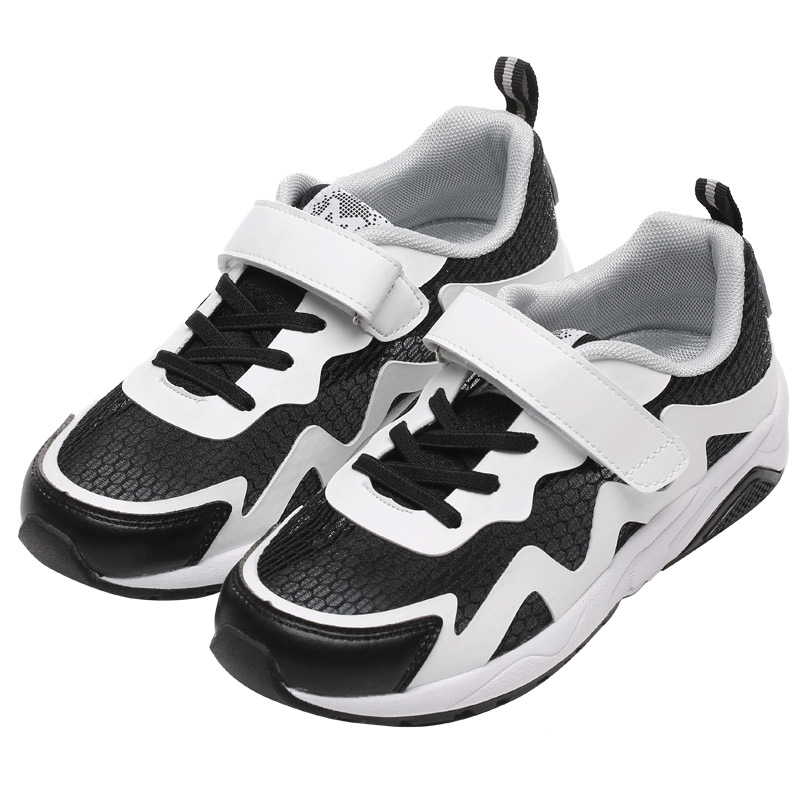 Boys Shoes Breathable Mesh Children Shoes Boys Girls Sport Shoes Fashion Hook&Loop Outdoor Kids Sneakers Black White Color air mesh breathable hook