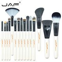 JAF 15pcs Set Animal Hair Syntehtic Hair Makeup Brush Kit White Handle Conveniently Portable Make Up