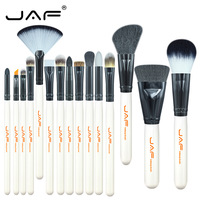 JAF 15pcs Set Animal Hair Syntehtic Hair Makeup Brush Kit White Handle Conveniently Portable Make Up