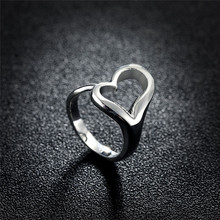 New Trend Silver Plated Ring Love Heart Ring Jewelry Simple style Open Rings for Friend Gift Free Shipping R009