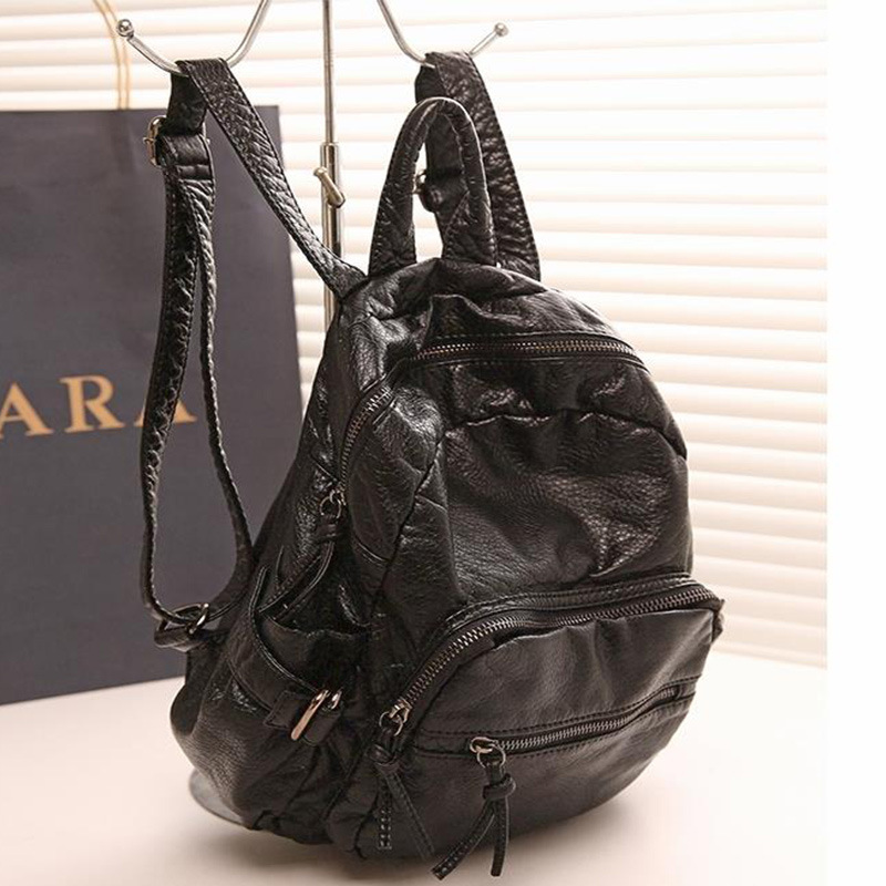 купить 2017 Korean Version Of High-End Leather Fashion Personality Explosion Models Washed Sheepskin Bag Leisure Tourism Small Backpack недорого