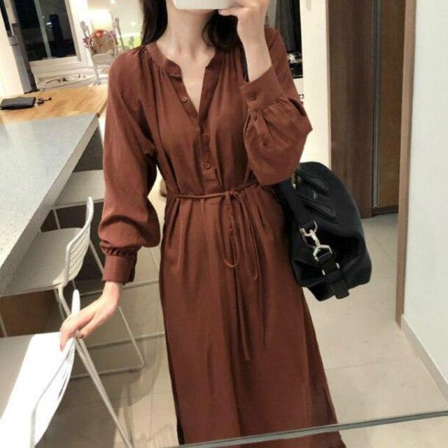 Женское осеннее корейское платье с v-образным вырезом и пуговицами, длинное платье-рубашка с поясом и пышным длинным рукавом, повседневный элегантный сарафан, Vestido Robe Femme Jurken