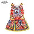 100-140 cm Traje Para Los Niños Vestidos de Fiesta Para Niñas Adolescentes Traje de Impresión de Los Niños Vestido de Princesa Niñas Ropa de Bebé vestidos