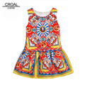 100-140cm Costume For Kids Party Dresses For Girls Printing Children Dress Princess Costume Teenage Girls Clothing Baby Dresses