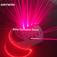 T90 Red laser beams dj helmets red laser man projector led light costumes ballroom dance performance stage wears party show bar