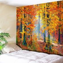 Autumn Forest Orange Tapestry Wall Hanging Sunlight Decorative Wall CarpetBohemian Large Mandala Indian Polyester Thin Blanket