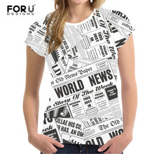 FORUDESIGNS Short Sleeved T-shirt for Women 2019 Newspaper Pattern Creativity Clothing Trend Printed Tshirt for Woman Casual Top все цены