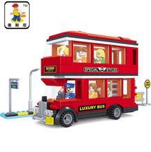 Ausini 25605 kits de edificio modelo de autobús de la ciudad 467 bloques 3d modelo educativo y juguetes de construcción aficiones compatible con leping