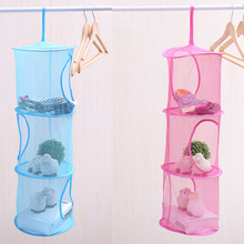1PC 3 Tier Mesh Fabric Hanging Laundry Basket Storage for Toy Washing Dirty Clothes Sundries Box