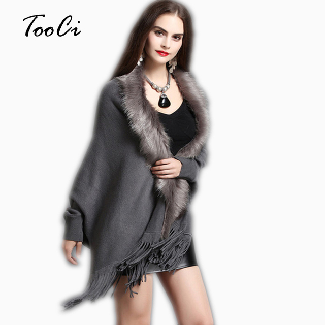 חדש אביב נשים אופנה מזויף שועל פרווה צווארון קשמיר סוודר פונצ 'ו אפור נשים ארוך עבה סרוג ציצית קרדיגן שכמיות