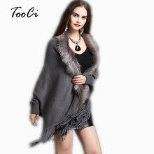 ฤดูใบไม้ผลิใหม่สตรีปลอม Fox ขนสัตว์เสื้อกันหนาว CASHMERE Poncho ผู้หญิงสีเทาสีเทายาวหนาถัก Cardigan Capes