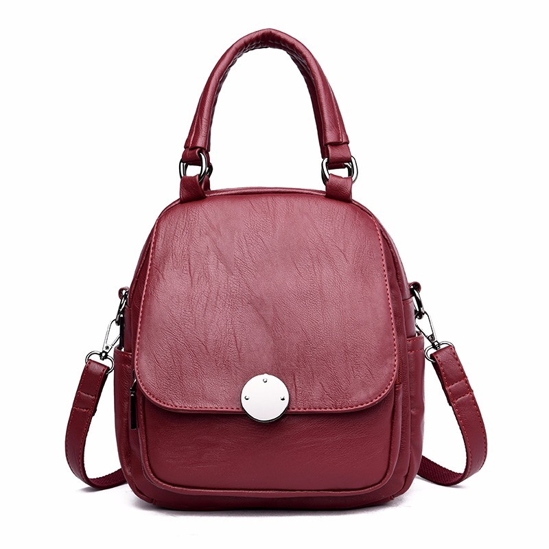 купить Small Multifunction Backpack For Girls 2018 Sac A Dos Femme Women Leather Backpacks High Quality Solid Vintage Bagpack Ladies по цене 1561.9 рублей