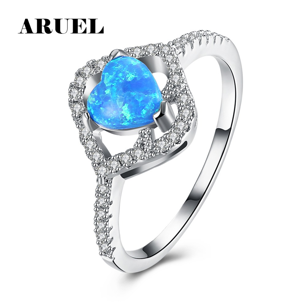 ARUEL Blue color stone Heart shape Women Ring Fashion Silver color Cubic Zircon Lover Rings Party wedding bride charm Jewelery