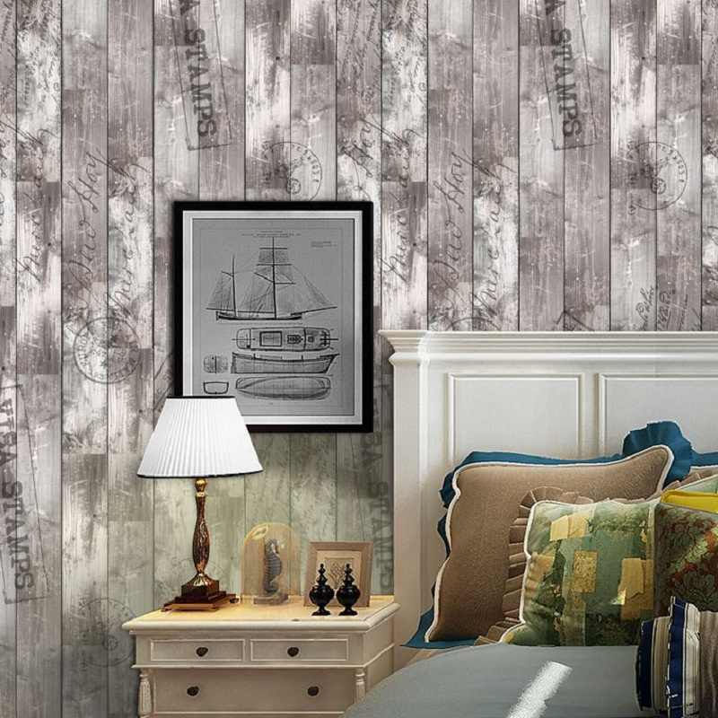 Nordic Imitation wood board sticker living room bedroom wallpaper wall sticker kitchen oilproof bathroom waterproof sticker