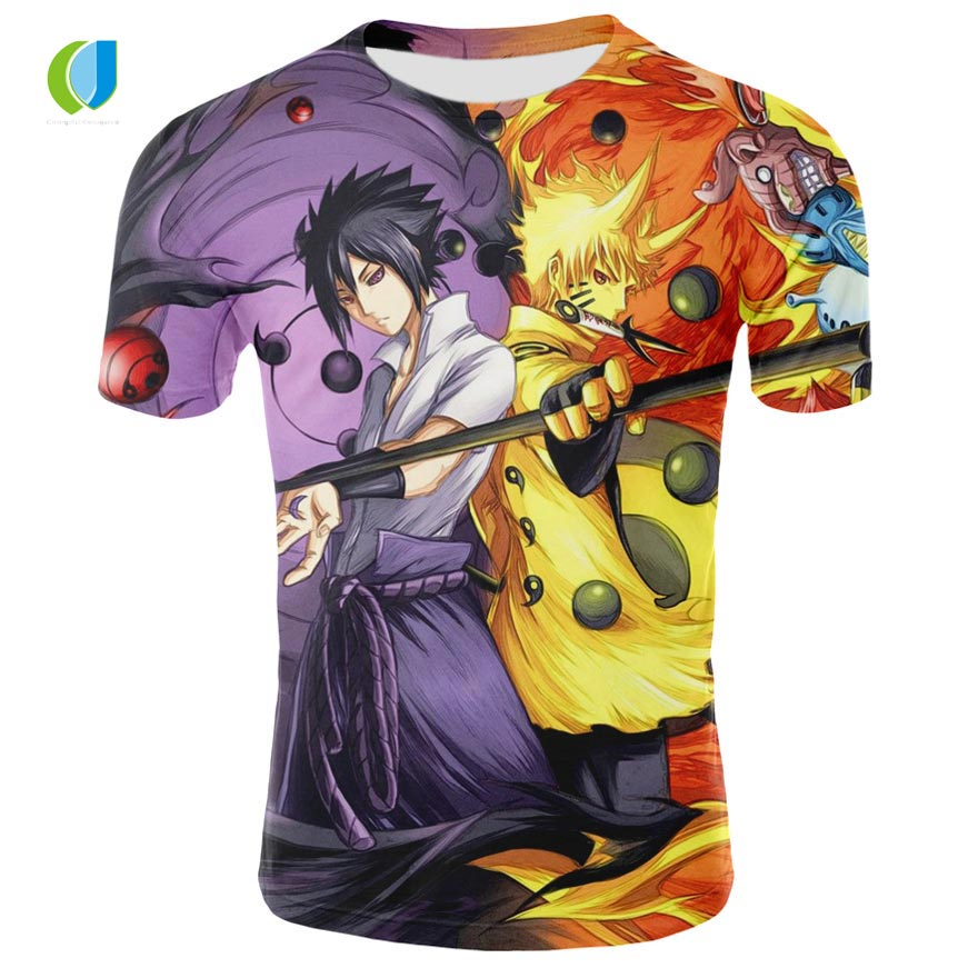 Summer shirt T-shirt 3D anime Naruto men and women print short-sleeved European and American high-quality short sleeve