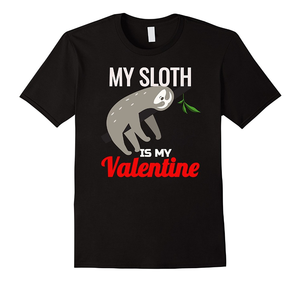 Biker T Shirts ValentineS Day My Sloth Is My Valentine Kids MenS Cotton O-Neck Short-Sleeve Shirts ...