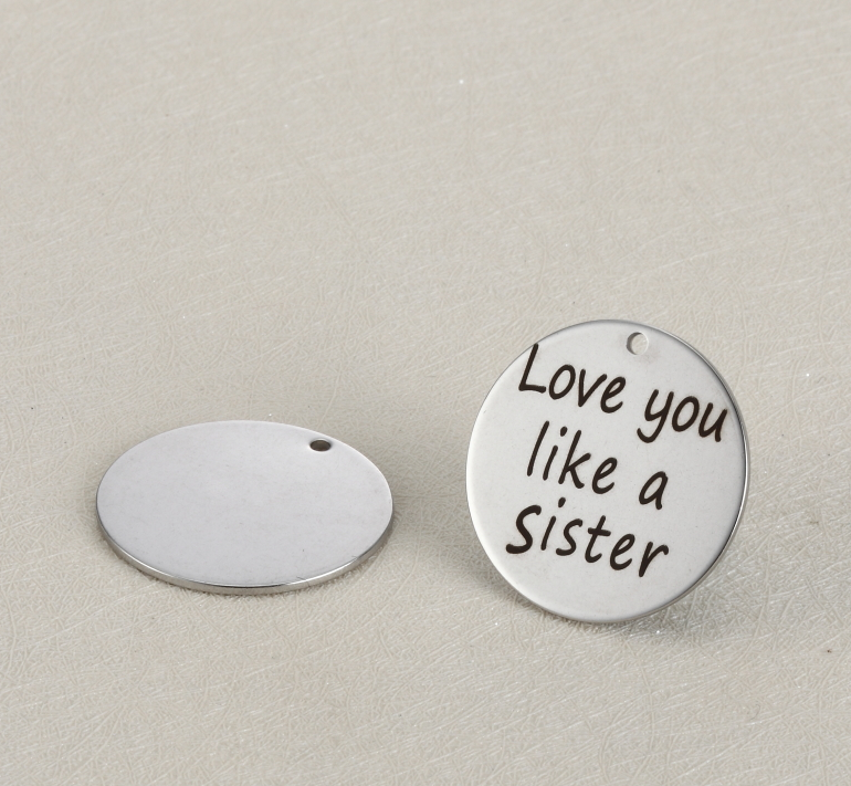 20pcs/lot 25mm New Arrival Stainless Steel Charms Love You Like A Sister For Diy Jewellery Making