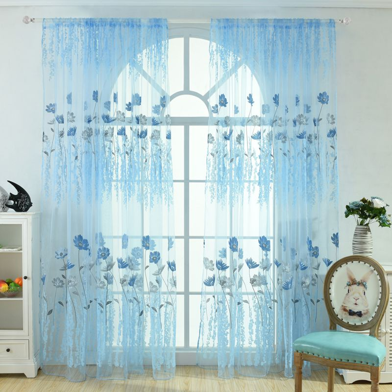 Window-Curtains Tulle Tulip-Pattern Balcony Sun-Shading Bedroom Kitchen-Printed Living-Room
