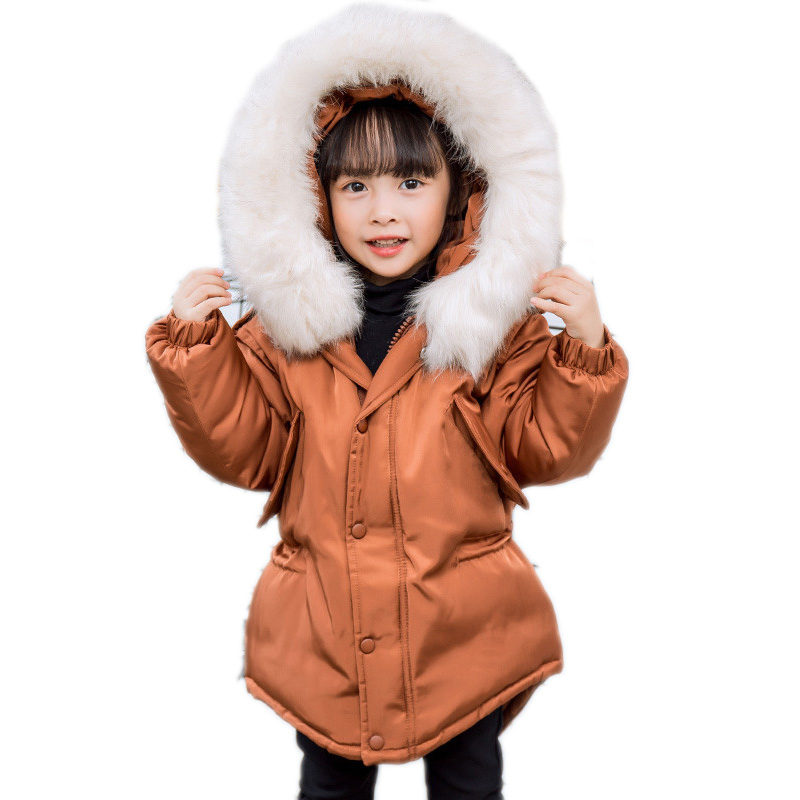 children winter coats 2017 kids winter coat solid big collar hooded girls parka down jackets white duck down kids warm outwear цены онлайн
