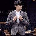 2016 Korean Style Brand Men's Linen Blazers Blue Fashion Flax Suit Jacket Pocket Design Blazer Masculino Plus Size M-5XL