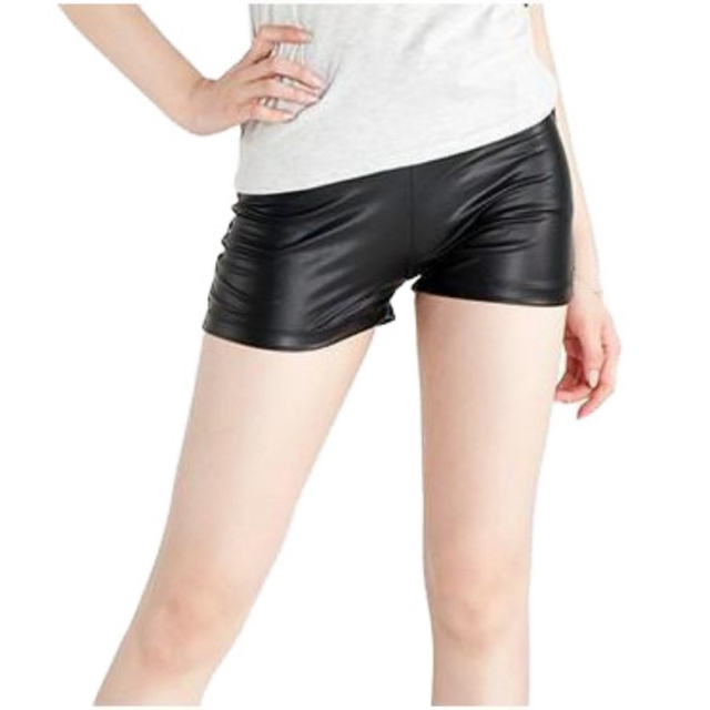 Casual Black Faux Leather Shorts Sexy Women Short Stretch Leather Summer Shorts For Spring Autumn Girl Female 2018