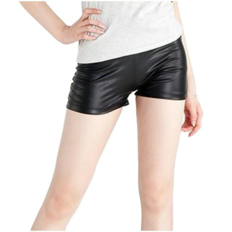 Casual Black Faux Leather   Shorts   Sexy Women   Short   Stretch Leather Summer   Shorts   For Spring Autumn Girl Female