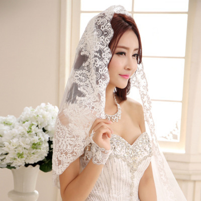 Cheap 2016 Lace Edge Wedding Veil 1 .5 M Elegant Bridal Veil One Layer Appliqued Wedding Accessories