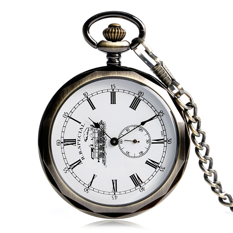 Small Seconds Design Mechanical Watches Retro Steam Locomotive Pattern Hand Winding Steampunk Vintage Pocket Watch For Men Women