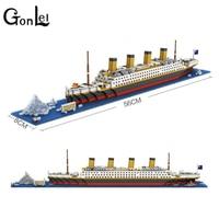 GonLeI LOZ Building Blocks RMS Titanic Ship Building Blocks Toy Titanic Boat 3D Model Gift Toys