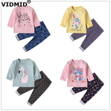 VIDMID baby girls pajamas rabbits cats clothing sets long sleeve t-shirts+ pants kids cotton childrens underwear set 4049