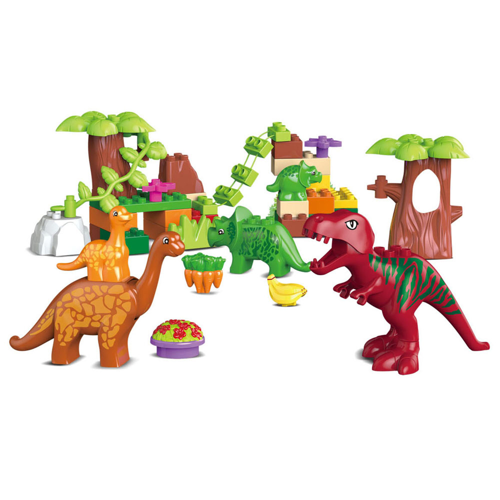 40pcs Jurassic World Dino Valley Building Blocks Large particles Dinosaur Animal Bricks Toys Compatible with legoeINGly Duplos ynynoo 40pcs set large particles animal