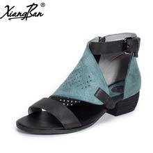цена Xiangban women roman sandals genuine leather retro leather ladies sandals rough with hollow out buckle side zipper summer shoes онлайн в 2017 году