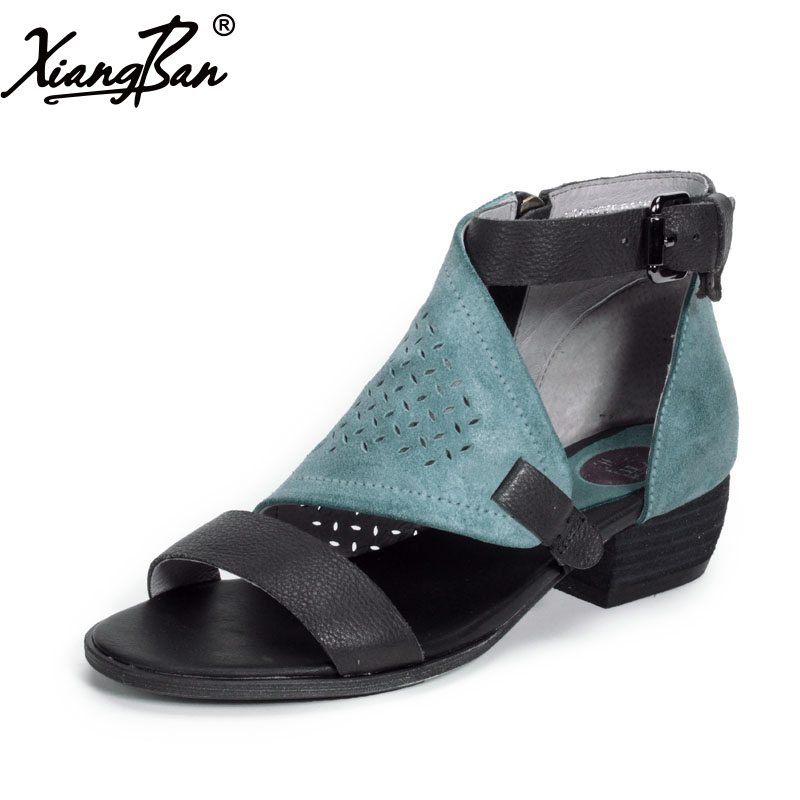 Xiangban Women Roman Sandals Peep Toe Summer Ladies Sandals Low Heel Shoes Hollow Out Genuine Leather