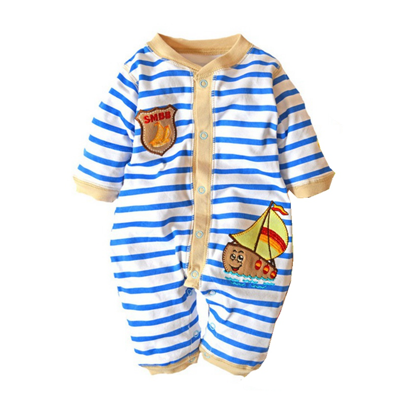 Sailing Stripes Baby Boy Romper Kids Clothes Ropa Macacao Bebe Overalls Bebes Rompers Jumpsuit Long Sleeve Infant Clothing 2017 baby knitted rompers girls jumpsuit roupas de bebe wool baby romper overalls infant toddler clothes girl clothing 12m 5y