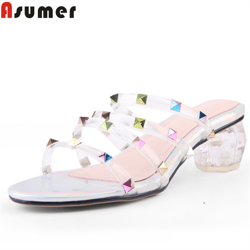 ASUMER large size 34 45 summer sandals for women shallow med heels ladies prom shoes mixed