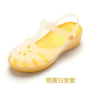 Image 4 - Zuecos de verano transpirables para mujer, sandalias de gelatina, calzado para jardín