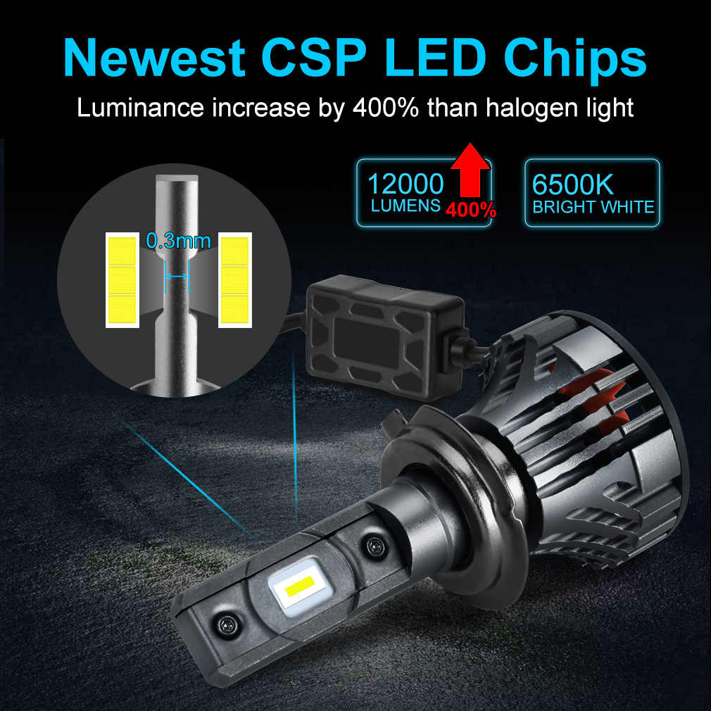 2pcs H1 H4 H7 LED H11 HB3 9005 HB4 9006 Car LED Headlight Bulbs Canbus Error Free 12000LM 6000K Mini Auto Headlamp Fog 12V 24V
