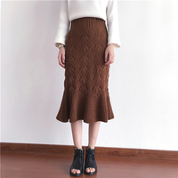 New Autumn Winter Women Knitting Skirts Retro High Waist Ruffles Fishtail Skirt Female Thicken Knitted Long