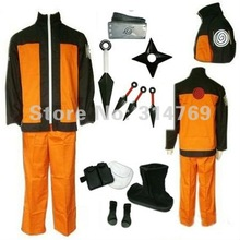 Аниме Наруто маскарадные костюмы Shippuden uzumaki Naruto 2nd наряд форма комплект с реквизит Halloween Party