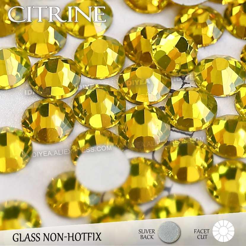 Citrine SS3 SS4 SS5 SS6 SS10 SS20 SS30 for Nail Art Flat Back Rhinestones  Glitter Crystal a3206acba89a