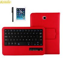Kemile extraíble inalámbrico bluetooth teclado portfolio case cubierta del soporte de cuero para samsung galaxy tab a 8.0 t350 tablet(China (Mainland))