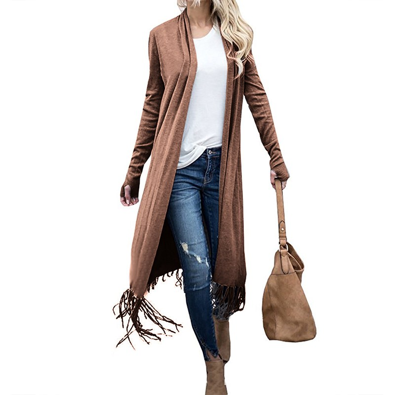 2018 Spring Women Elegant Open Front Long Sleeve Tassel Long Coat Waterfall Vintage Ladies Work Office Solid Jackets Cardigan