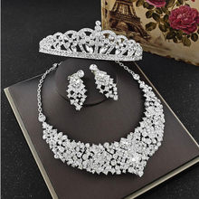 Hand Made Silver Women Hair Jewelry Set With Tiaras Necklace Earrings 2018 Diamond Rhinestone Crowns Party Bridal Headpieces(China)