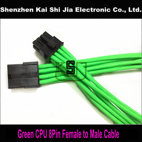 Free Shipping Green Single Sleeved CPU 8 Pin ATX Female to