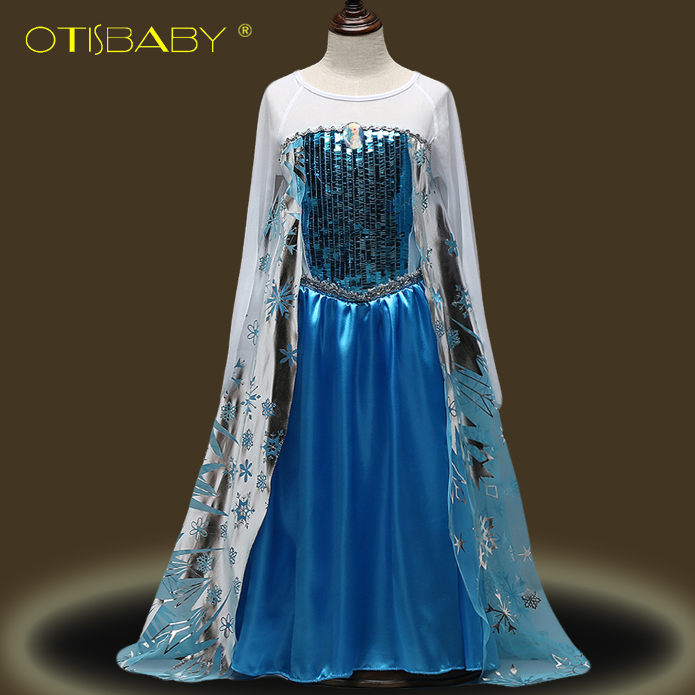 Girl Elsa Princess Dresses Kids Long Sleeve Fancy Clothing Girls Snow Queen Cosplay Costume for Party Anna Childrens Fancy Dress children anna elsa princess birthday dresses cosplay party fancy costume with cape christmas dress child blue red clothes kids