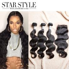 Free Shipping Star Style Hair Brazilian Body Wave With Closure 3pcs Human Hair Bundles With 4X4 Lace Closure Hair Extension