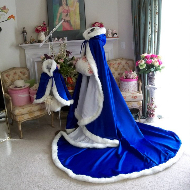 Royal Blue Wedding Jacket Cloak Winter Bridal Cape 96 Inch Luxury